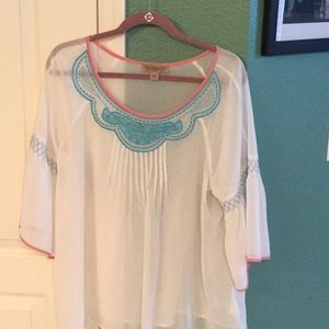Sheer bohemian Flowy blouse, embroidered